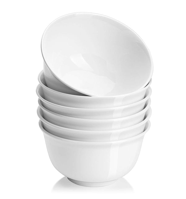 DOWAN 36-Ounce White Porcelain Cereal, Deep Soup Bowl Set, Set of 6