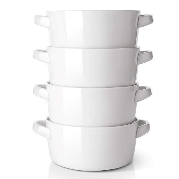 DOWAN 24 Ounces Porcelain Bowls with Handles for Soup, Cereal, Stew, Chill, Set of 4