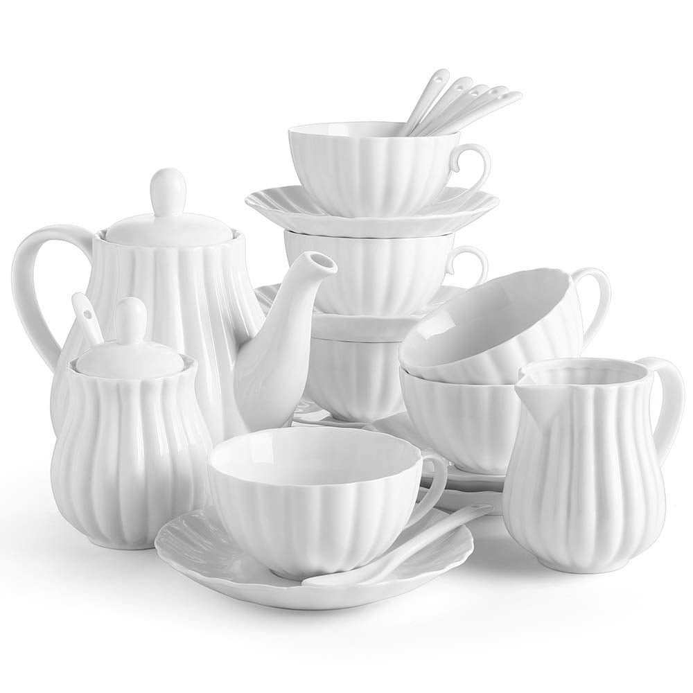 DOWAN 22 Pieces Porcelain Tea Set, Tea Gift Sets for Adults, Set of 6