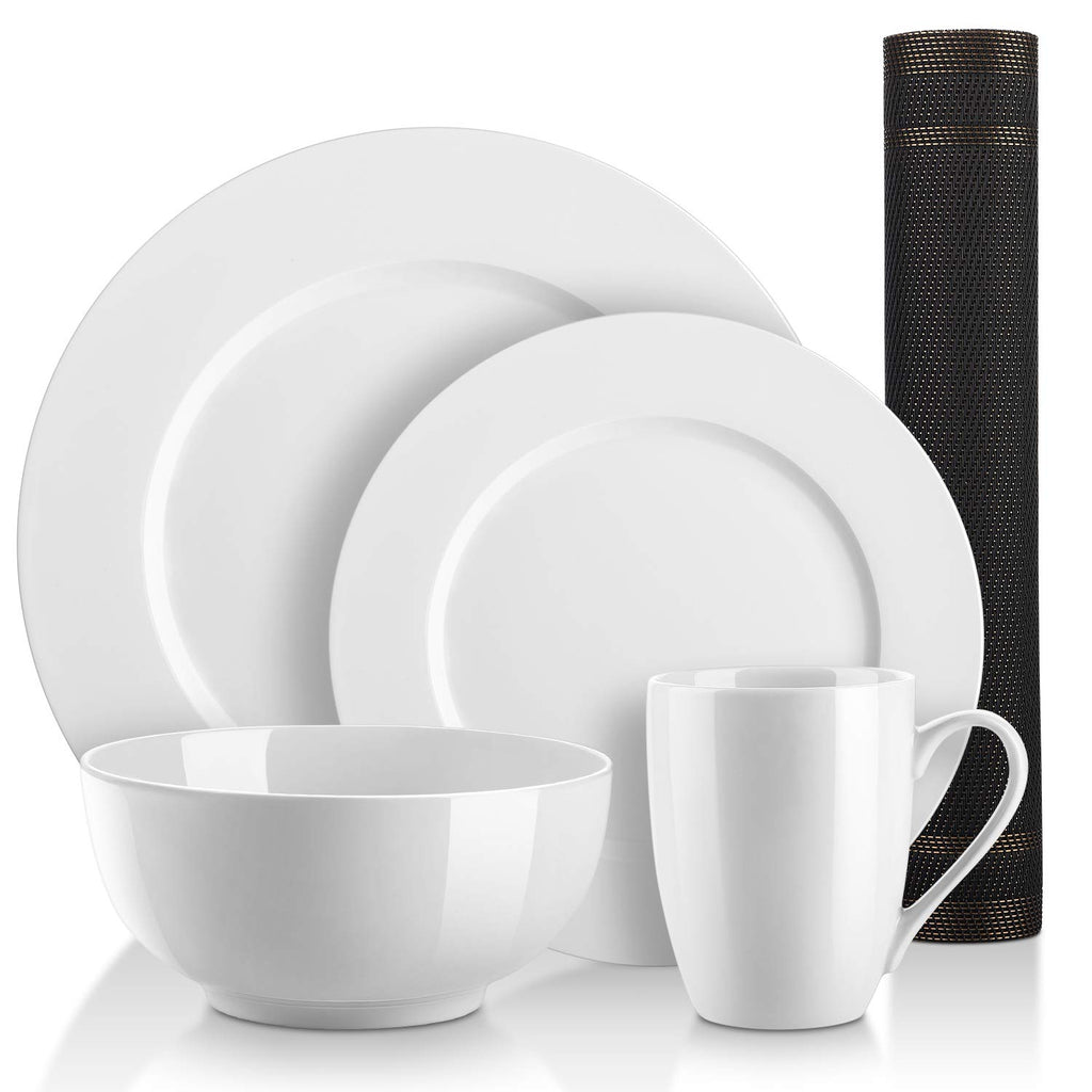 DOWAN 5 Pieces Kitchen Dinnerware Set, Round 2 Dishes, 1 Bowl, 1 Cup, 1 Placemat