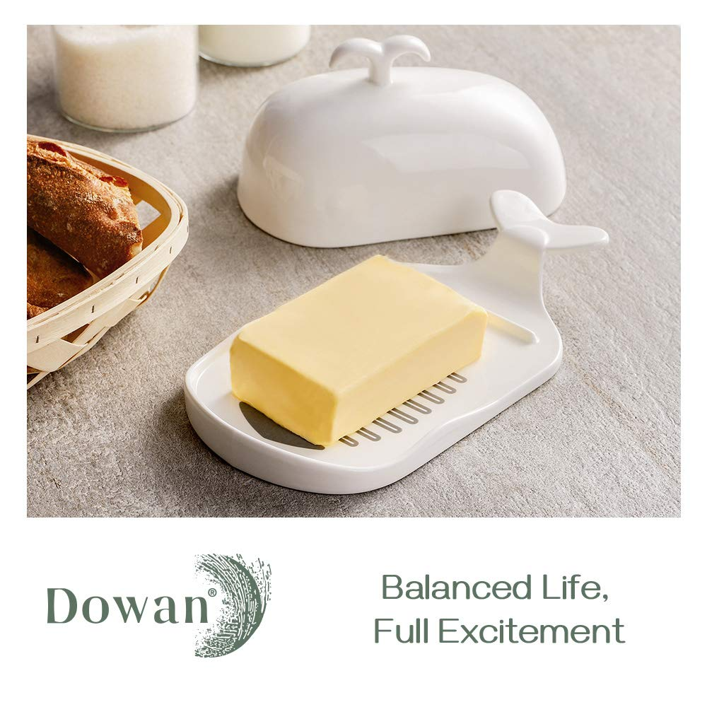 DOWAN Porcelain Butter Dish with Lid, Large Butter Container, Whale Shape Butter Dish, White