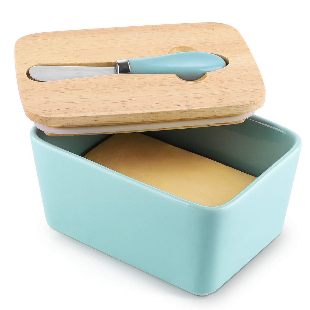 DOWAN Porcelain Butter Container, Large Butter Dish with Lid and Steel Knife, Blue