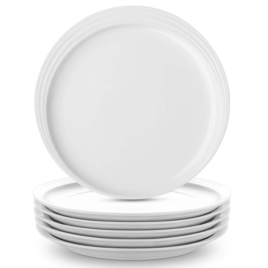 DOWAN 8-Inch White Elegant Porcelain Dessert Plates for Salad and Pasta, Set of 6