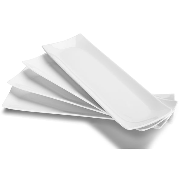 DOWAN® 14-inch White Porcelain Serving Plates, 4 packs