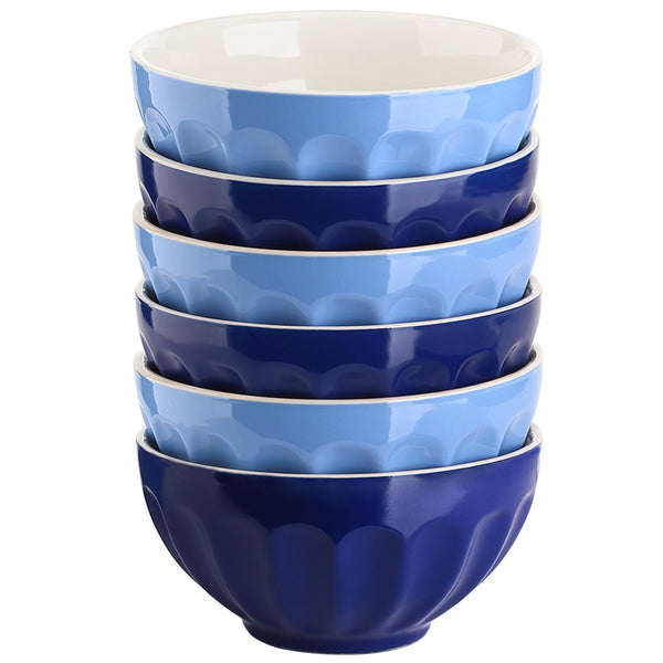 DOWAN® 28oz Stoneware Fluted Bowls- 6pc Assorted Colors