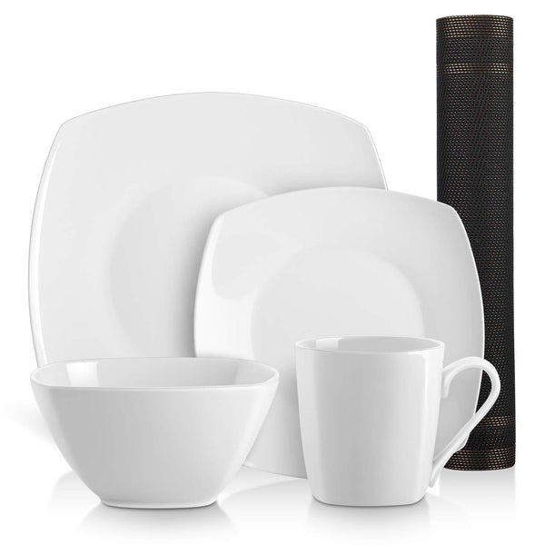 DOWAN 5 Pieces Square Kitchen Dinnerware Set, 2 Dishes, 1 Bowl, 1 Cup, 1 Placemat