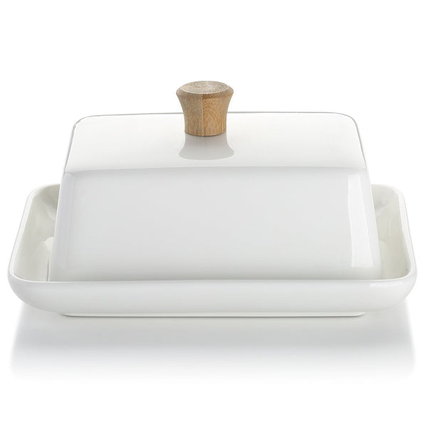 DOWAN® 8-inch Porcelain Butter Dish with Lid, White
