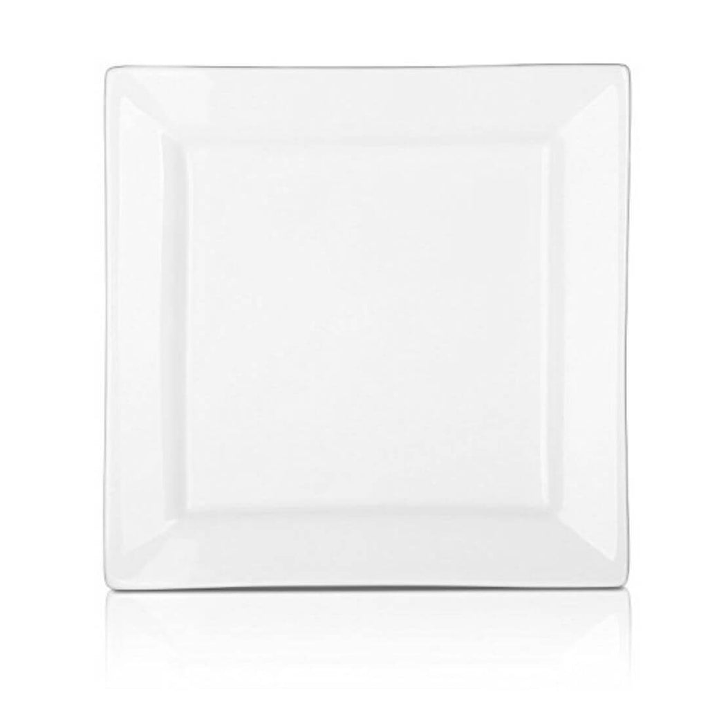 DOWAN® 8 Inch Porcelain Square Plates - 4 Packs, White