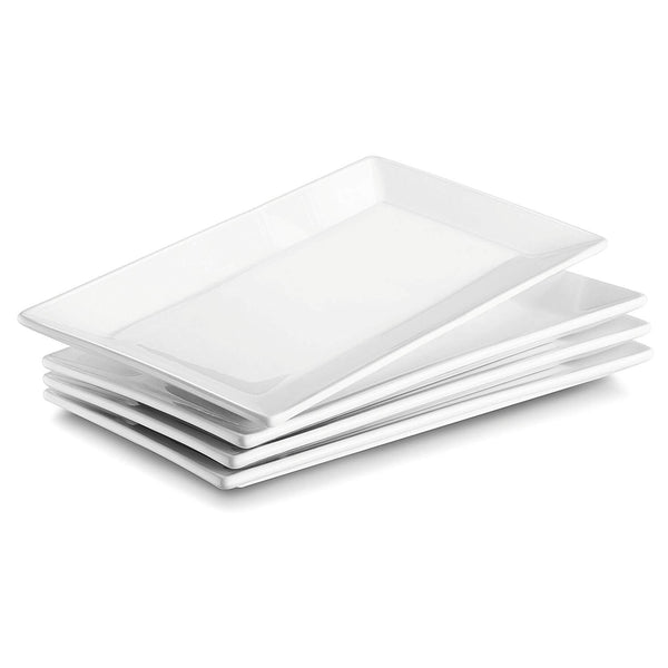 DOWAN® 9.7-inch Porcelain Serving Platters/Plates - Set of 4, White