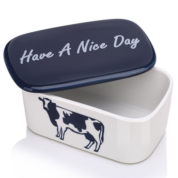 DOWAN® Butter Dish, Porcelain Butter Keeper with Lid, White, Blue