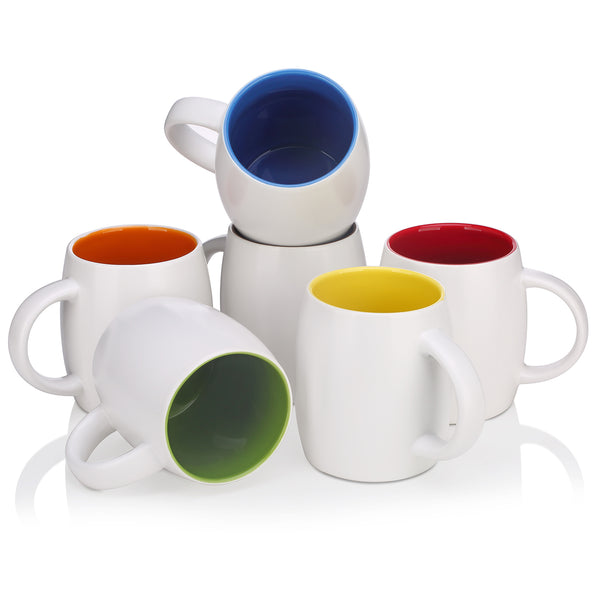 DOWAN®14 Ounce White Large Ceramic Mugs, 6pc