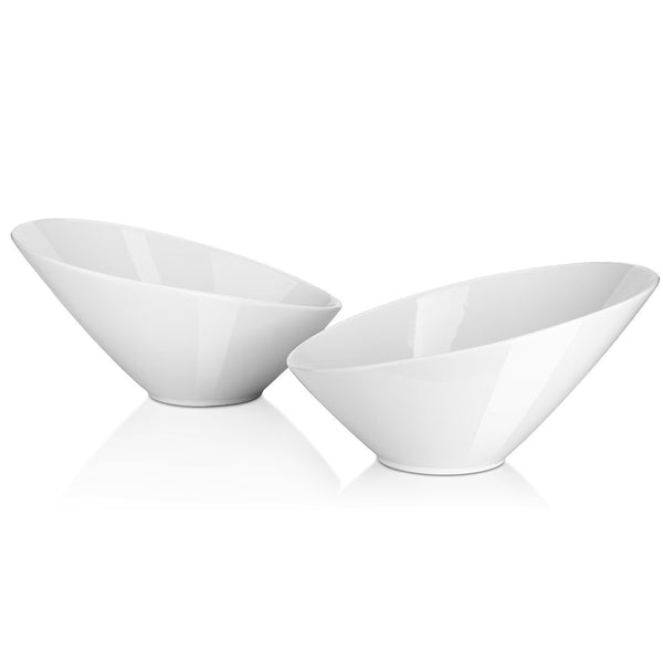 DOWAN® 26oz Porcelain Angled Salad Bowls, 2 Packs, White
