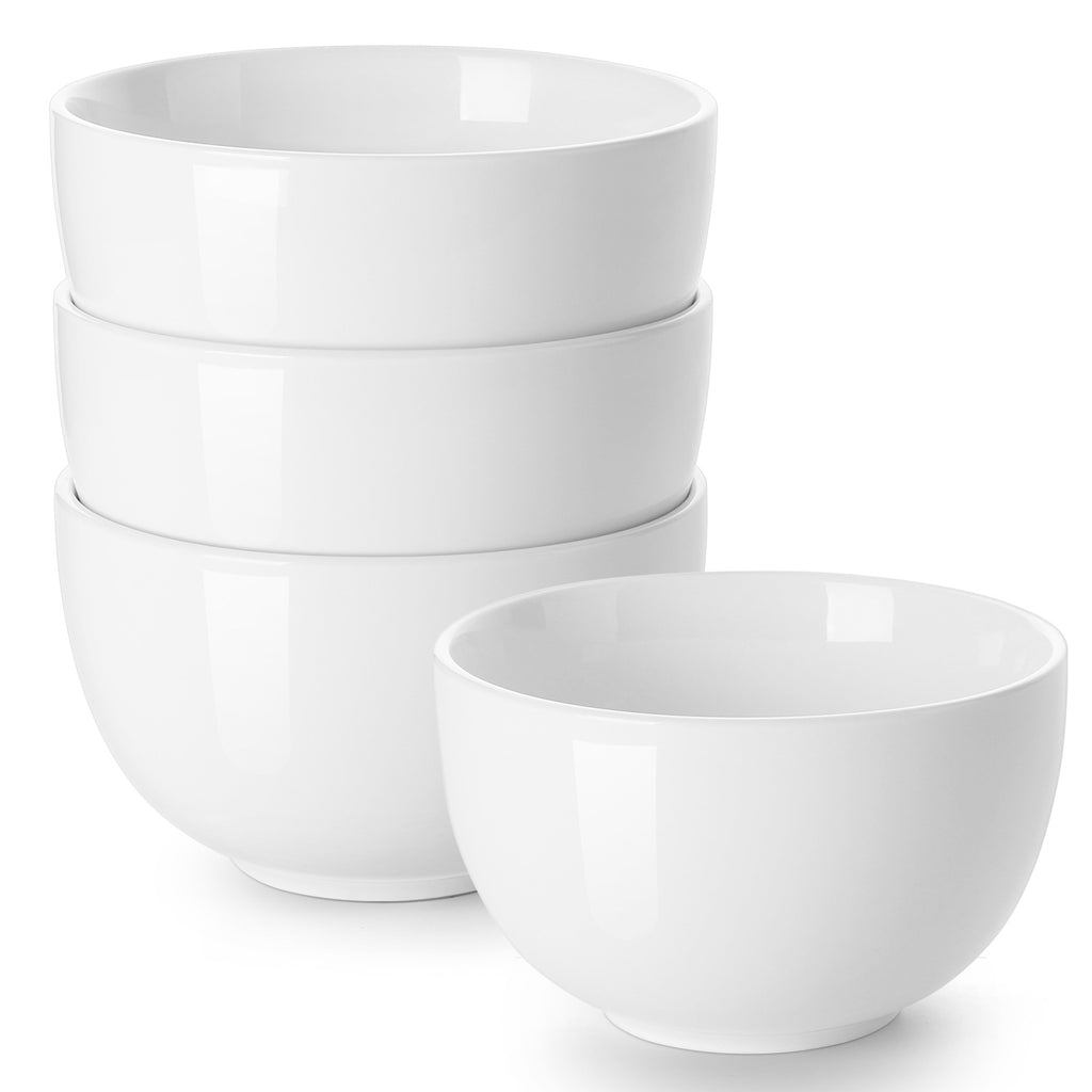 DOWAN  30-Oz White Porcelain Bowl for Cereal, Soup, Ramen, Rice bowls,  Set of 4