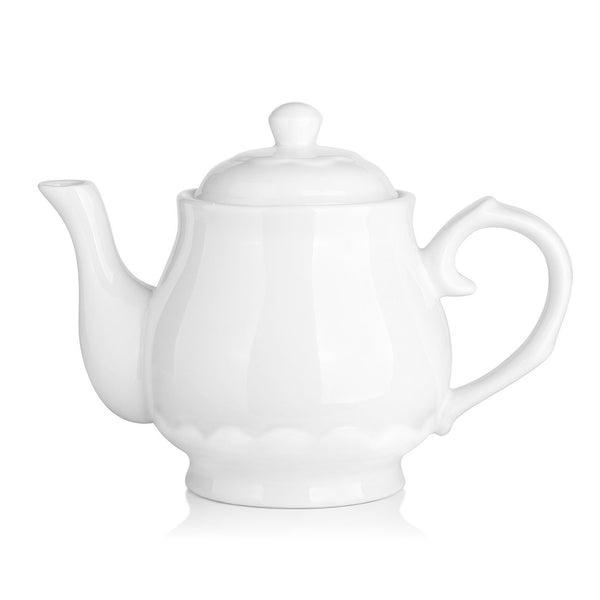 DOWAN® 22 OZ White Fine Pierced Ceramic Tea Pot