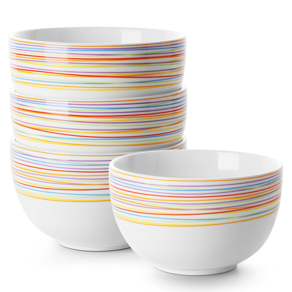 DOWAN 30-OZ Porcelain Rainbow Bowls for Cereal, Soup, Ramen,  Set of 4