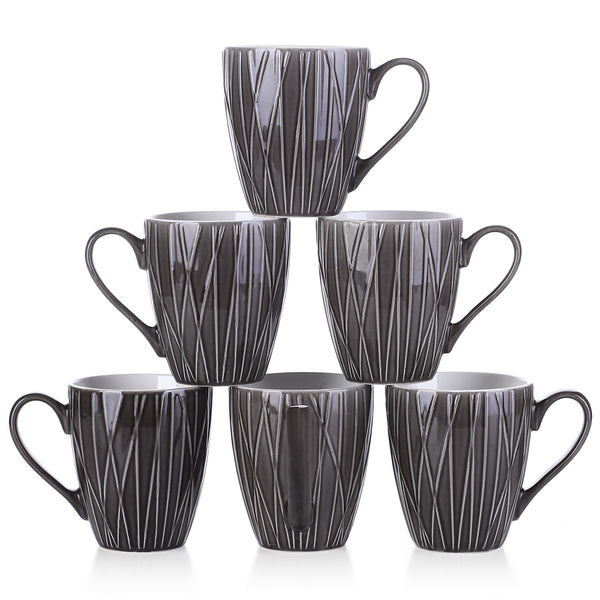DOWAN 14-Ounce Dark Gray Broad Handle  Ceramic Coffee  Mugs, Set of 6