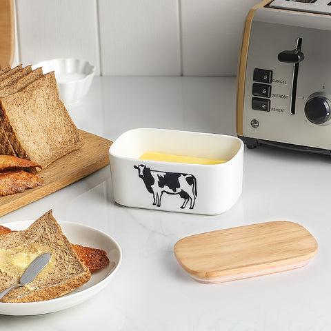 dowan new butter dish with wooden lid