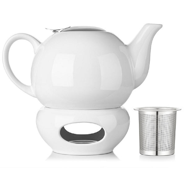 White Teapot with Lid and Warmer