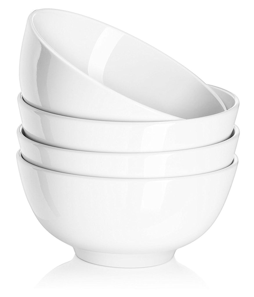 DOWAN 29-Ounce White Porcelain Cereal Bowls, Set of 4