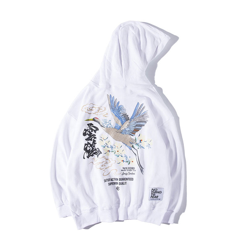 Embroidered Cranes Hoodie