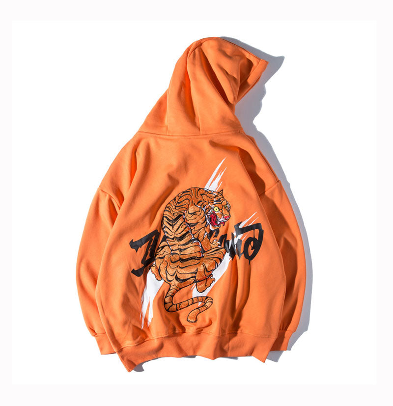 Asian Tiger Embroidered Hoodie