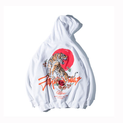 Embroidered Tiger Rose Hoodie