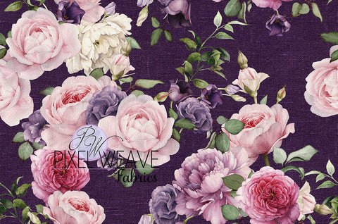 ***Floral on Purple Linen Look