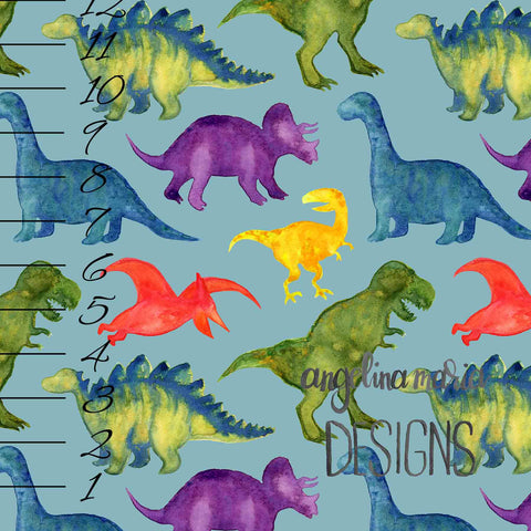***Medium Watercolor Dinosaurs on Blue