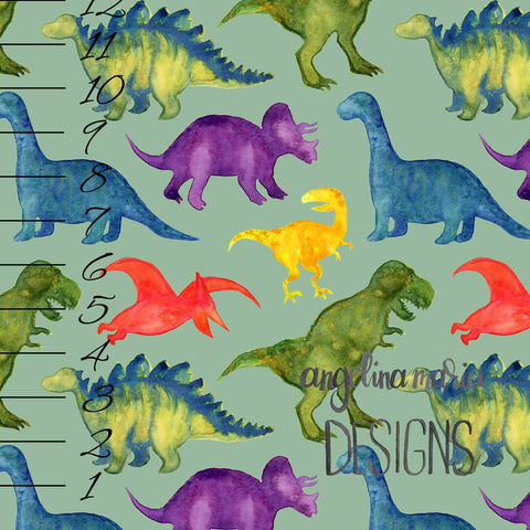 ***Medium Watercolor Dinosaurs on Sage