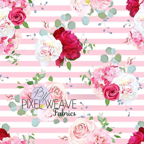 ***Floral on Pink Stripes