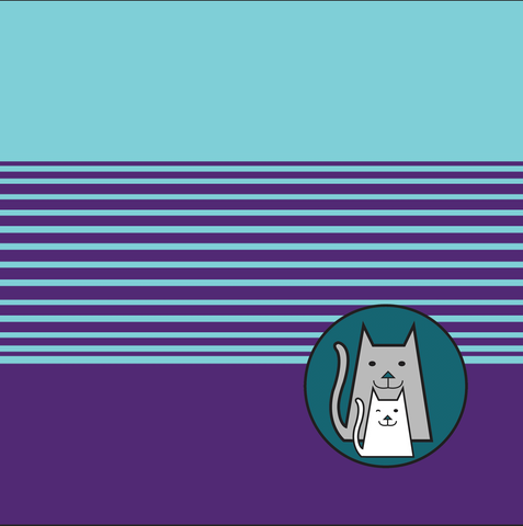 SMALL Teal and Purple Techno Stripes