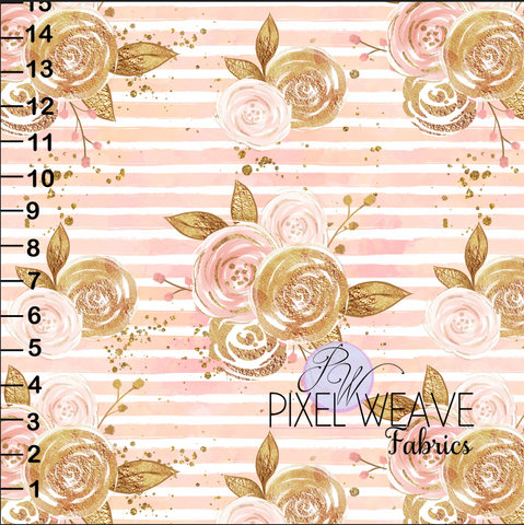 Pink and Gold Stripe Floral