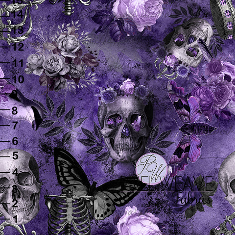 ***Floral and Skulls - Plum