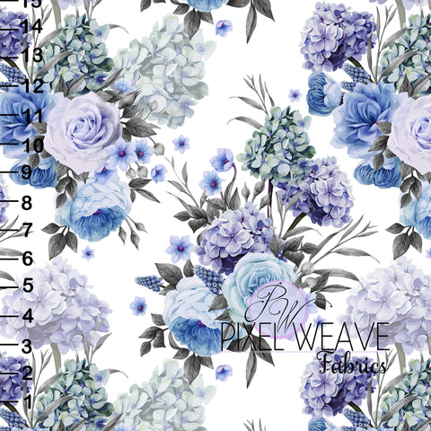 Blue and purple floral White
