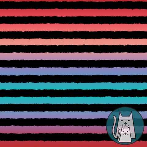 ***Rough Stripes Red and Teal