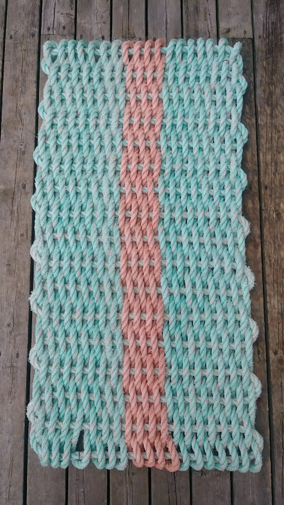 Nautical Rope Doormat Recycled Reclaimed Gulf of Maine Lobster Rope Mat  Handwoven Unique 20x40