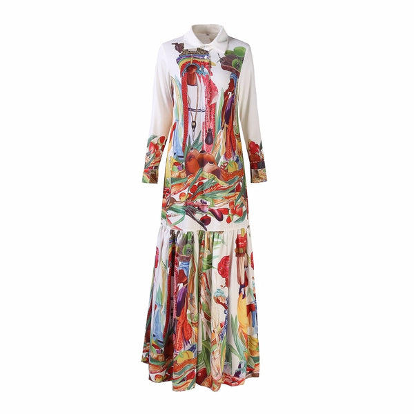 dfa889cc23f ... High Quality Newest Fashion Runway Turn Down Collar Maxi Dress Women s  Long Sleeve Retro Art Printed ...
