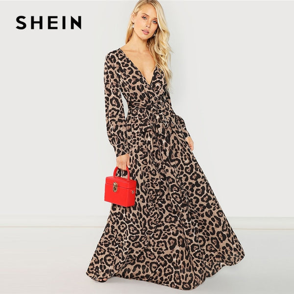 ec3a7d3a58 SHEIN Multicolor Party Surplice Neck Leopard Print Overlap Long Sleeve Dress  Autumn Streetwear Women Maxi Dresses ...
