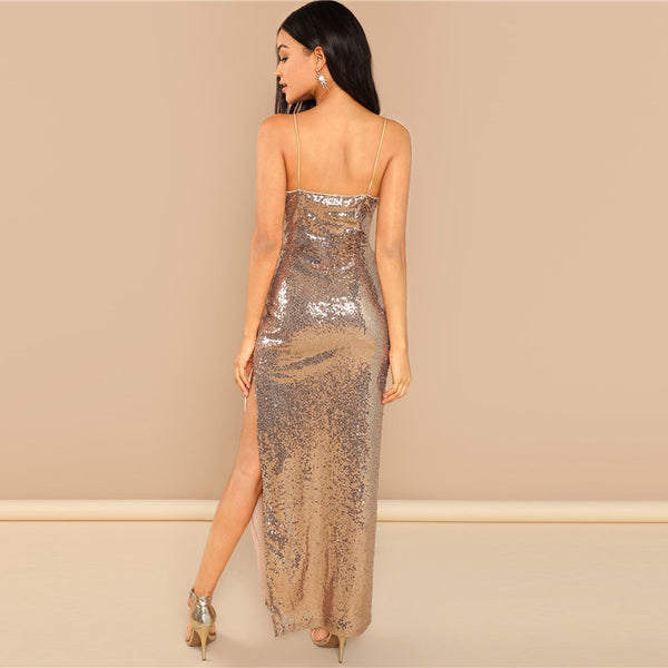 a419d4e16cf ... SHEIN Gold Party Sexy Backless Split Side Sequin Cami Solid Sheath Maxi  Dress 2018 Summer Club ...