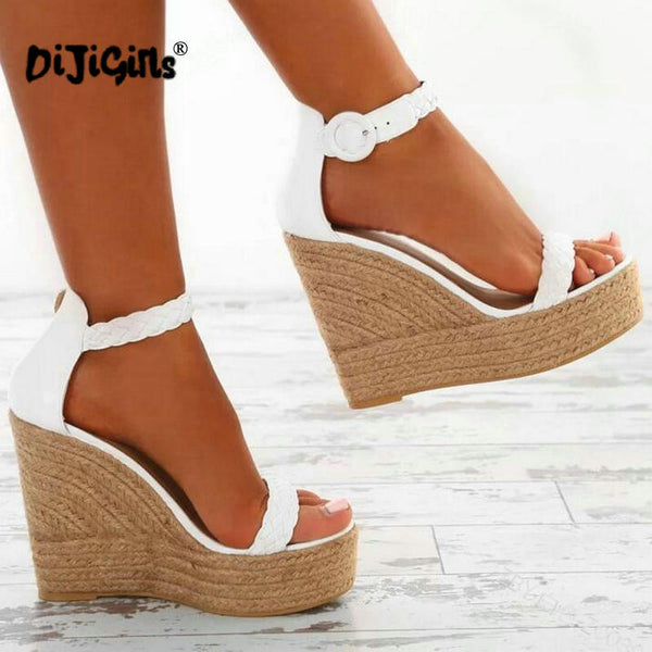 c789b7a29f2d Drop shipping women sexy wedge sandals pumps platform high heels PU leather  woman chaussure zapatos mujer ...