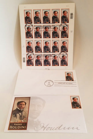 Harry Houdini 2001 First Day Of Issue Stamp Sheet, Envelopes