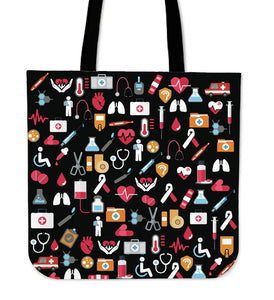 Nurse Pattern Black Tote