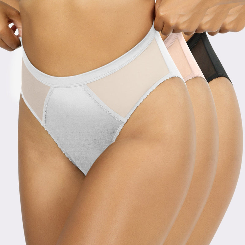 3x Micro Dressy French Cut Panty Pack - White/Cameo Rose/Balck