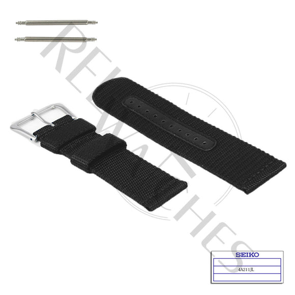 SEIKO 4A211JL 22mm Black Nylon Watch Band
