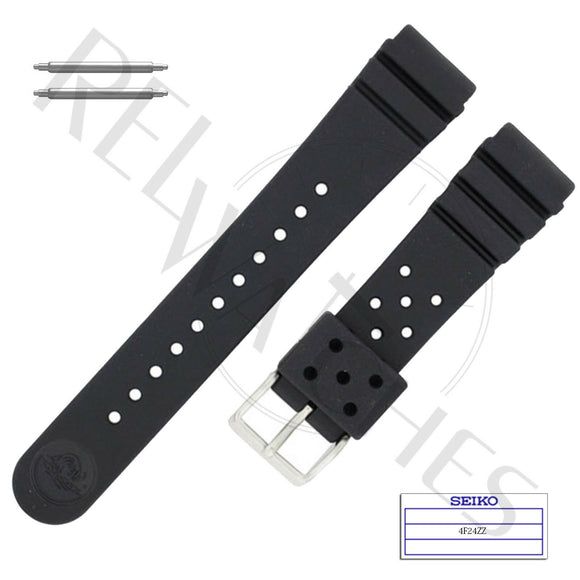SEIKO 4F24ZZ 22mm Black Rubber Watch Band