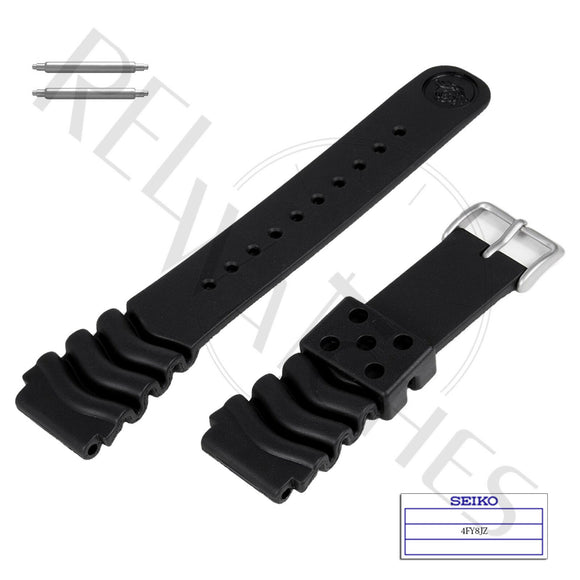 SEIKO 4FY8JZ 22mm Black Rubber Watch Band