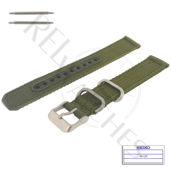 SEIKO 4K11JZ 18mm Green Nylon Watch Band