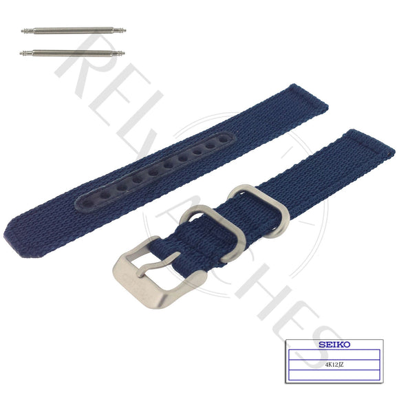 SEIKO 4K12JZ 18mm Blue Nylon Watch Band