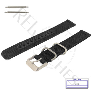 SEIKO 4K13JZ 18mm Black Nylon Watch Band