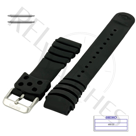 SEIKO 4KR3JZ 20mm Black Rubber Watch Band